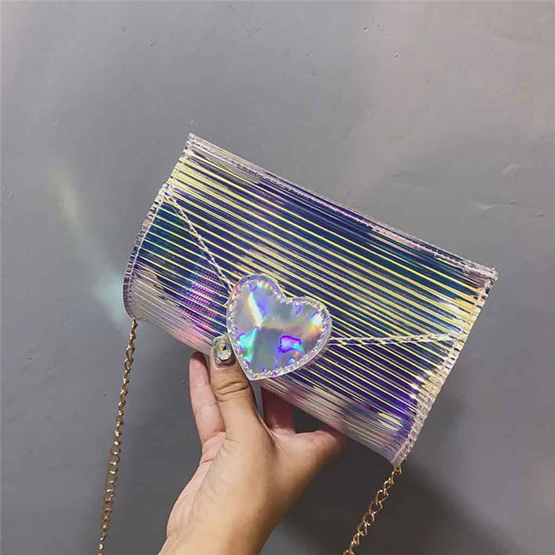 Women Laser Mini Chain Shoulder Bag Transparent Jelly Package Cross body Messenger Bags PVC Waterproof Beach bag A25Women Laser Mini Chain Shoulder Bag Transparent Jelly Package Cross body Messenger Bags PVC Waterproof Beach bag A25