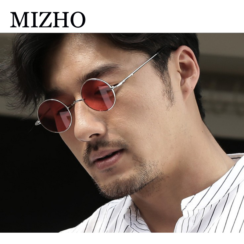 MIZHO Retro Pink Round Sunglasses Women Brand Design Punk Yellow Eyewear Ladies Metal Sunglasses Men Polarized UV Protection