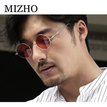 MIZHO 2019 vintage Round Metal Sunglasses Women Brand Design Punk Yellow Eyewear Ladies Men Polarized UV Protection