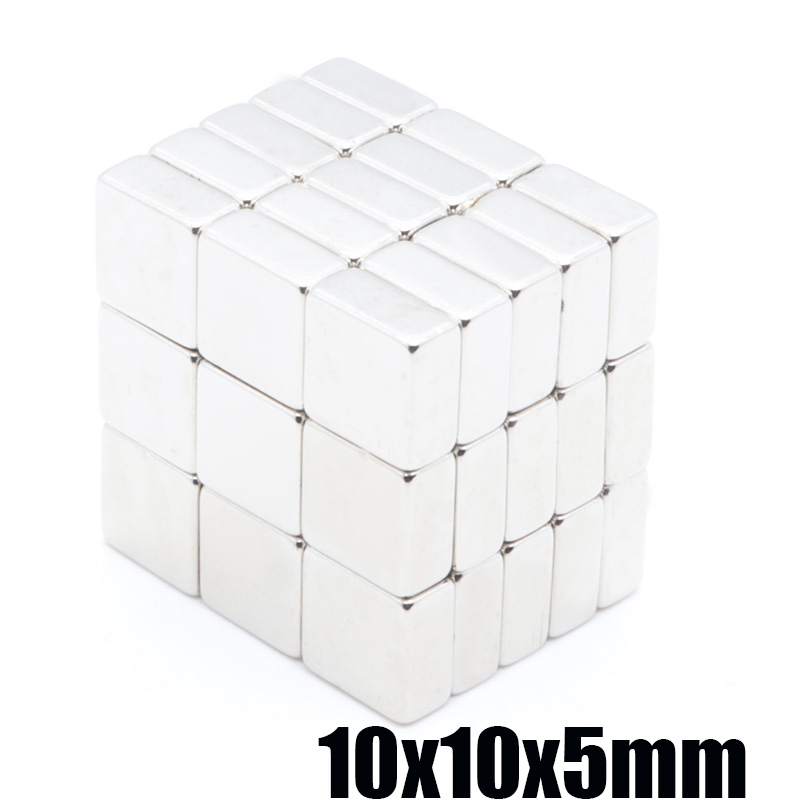 100pcs powerful magnet 10X10X5mm N35 magnetite rectangular NdFeB magnet magnetic steel square magnet 10x10x5 mm(China)