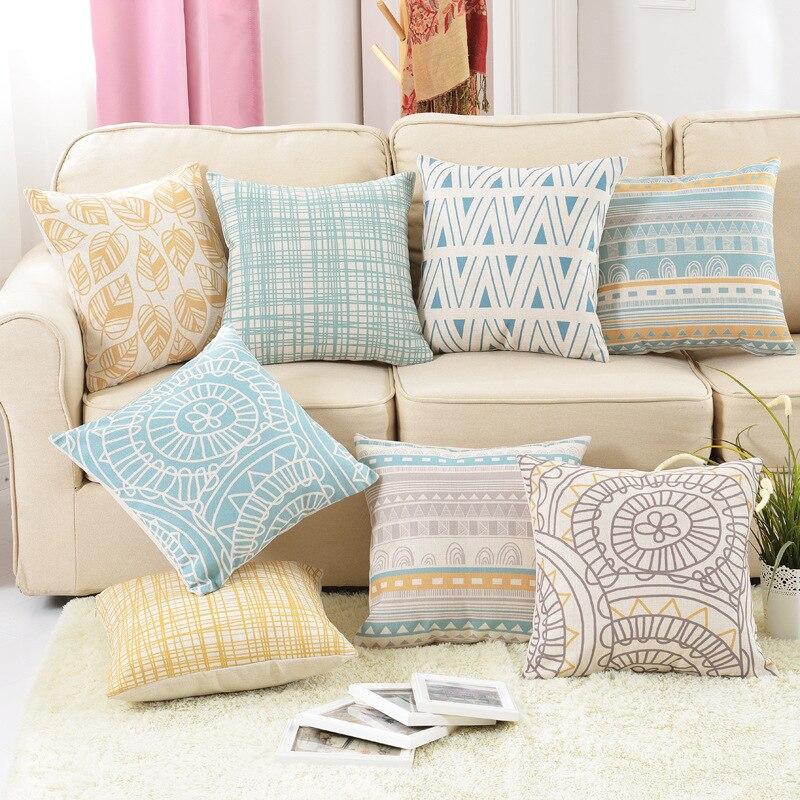 Декоративные подушки throw Чехол хлопок белье золото геометрический цветок офисные кресла чехлы для диван домашний housse де coussin