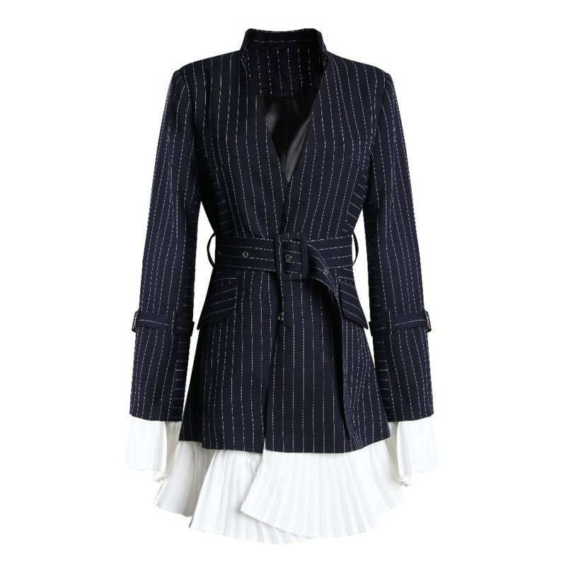LANMREM 2019 New Turn down Collar Flare Sleeves Pleated Navy Striped High Waist Single Suit Women