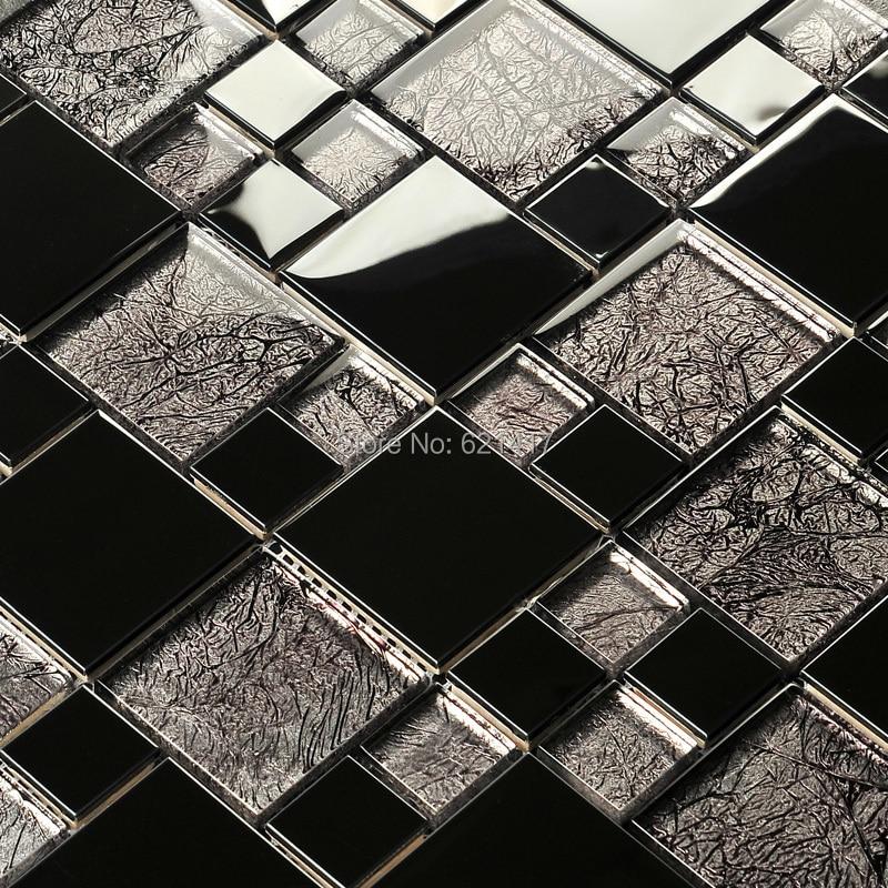 Black Mosaic Tiles Kitchen: Black Gold Foil Electroplate Mosaic Tiles HMGM1103