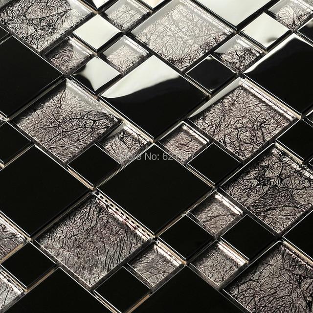 Black Gold Foil Electroplate Mosaic Tiles HMGM1103 Backsplash Kitchen Wall  Tile Sticker Bathroom Floor Tile Free