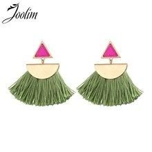JOOLIM Contrast Green Purple Tassel Earring Fanned Fringe Summer for Women 2018