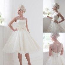 Scoop A Line Short Wedding Dress With Bow vestido de novia 2019 Sheer Neck Stain Bridal Gowns Illusion Knee Length