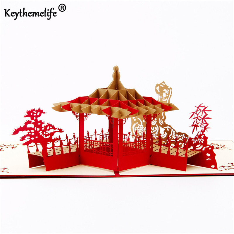 Keythemelife 3D Card  Invitations Chinease Gift Suzhou Garden pop up Paper Greeting Postcards for Holiday Party Travel Gift BA 1 design laser cut white elegant pattern west cowboy style vintage wedding invitations card kit blank paper printing invitation