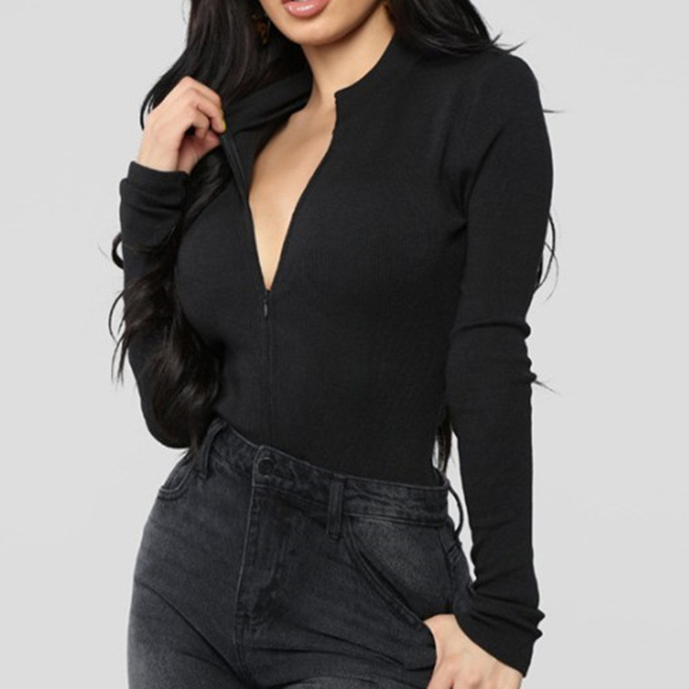 Sexy Zipper Solid Long Sleeve Bodysuit Women O- Neck Adjustable Tops slim   Jumpsuit   party streetwear slim club body 2019 new