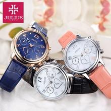 Юлий нью-женщин дамы наручные часы кварцевых часов топ мода одежда оболочки кожа япония движение именинницы рождественский подарок 844