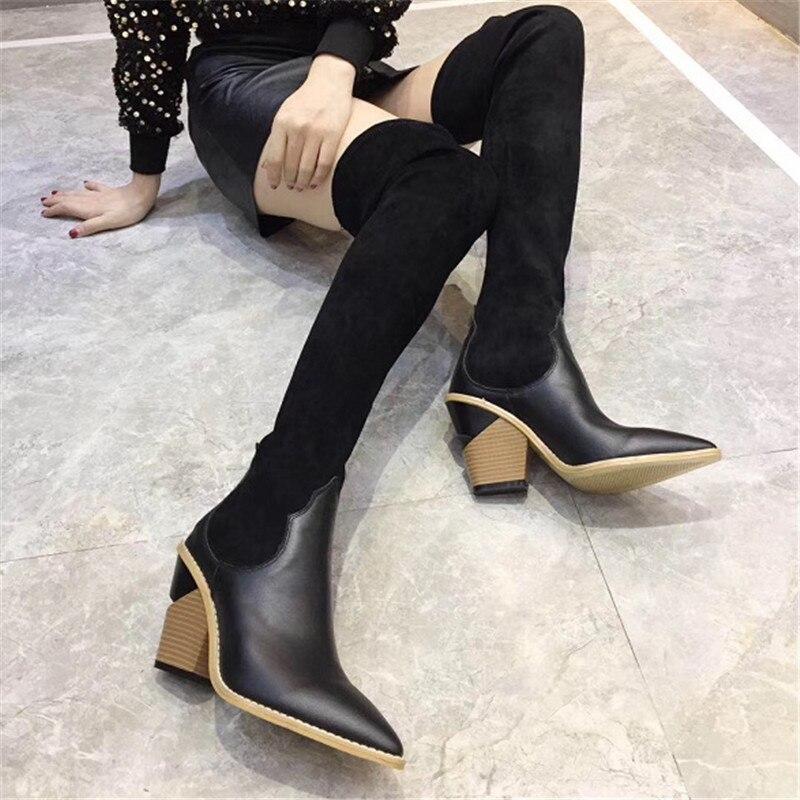 Invierno Mujer En Alta Otoño Zapatos Muslo De As Del Calcetines Gruesa Largos Botas Cuñas Cuero Tacón Deslizamiento Negro Pic Punta OwBxq