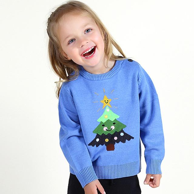 2016 CRIANÇAS de Inverno Da Marca Camisola Do Bebê Meninas Meninos Estrelas árvore De Natal Outfits Bebê Roupas meninas camisola de Malha Cardigan Outono