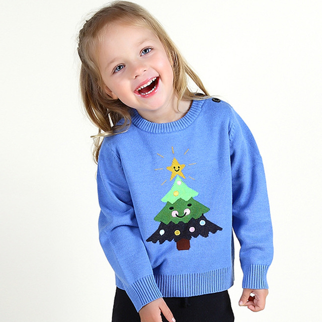 2016 KIDS Brand Winter Baby Sweater Girls Boys Stars Christmas tree Knitted Autumn Cardigan Baby Outfits Clothing girls sweater