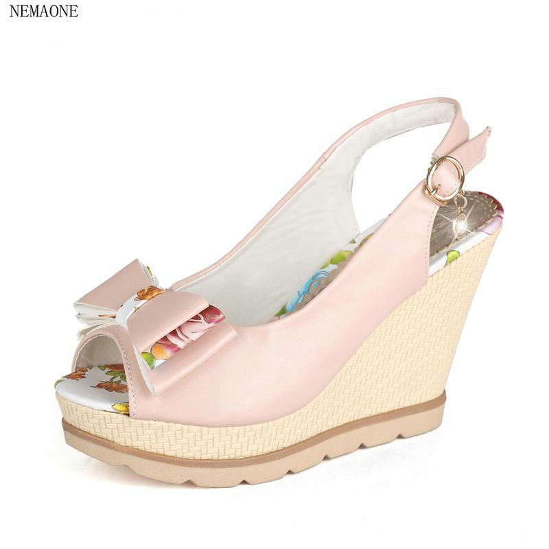 NEMAONE Big size Sexy bowtie Women Gladiator Lady Shoes High Heel Wedges Summer Peep Toe Platform Woman Sandals phyanic 2017 gladiator sandals gold silver shoes woman summer platform wedges glitters creepers casual women shoes phy3323