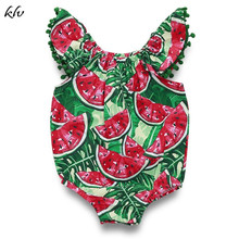Summer Infant Baby Girls Romper Watermelon Print Flying Sleeves Lace Rompers Playsuit Jumpsuit