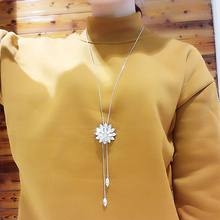 Fashion Jewelry Long Necklace For Women Rhinestone Flower Tassel Sweater Necklaces & Pendants Dress Accessories chic rhinestone petal flower necklace for women