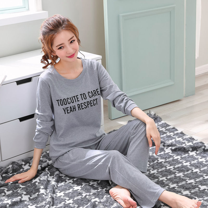 2019 Women Pajamas Sets Autumn Winter New Women Pyjamas Cotton Clothing Long Tops Set Female Pyjamas Sets NightSuit Mother Sleep 102