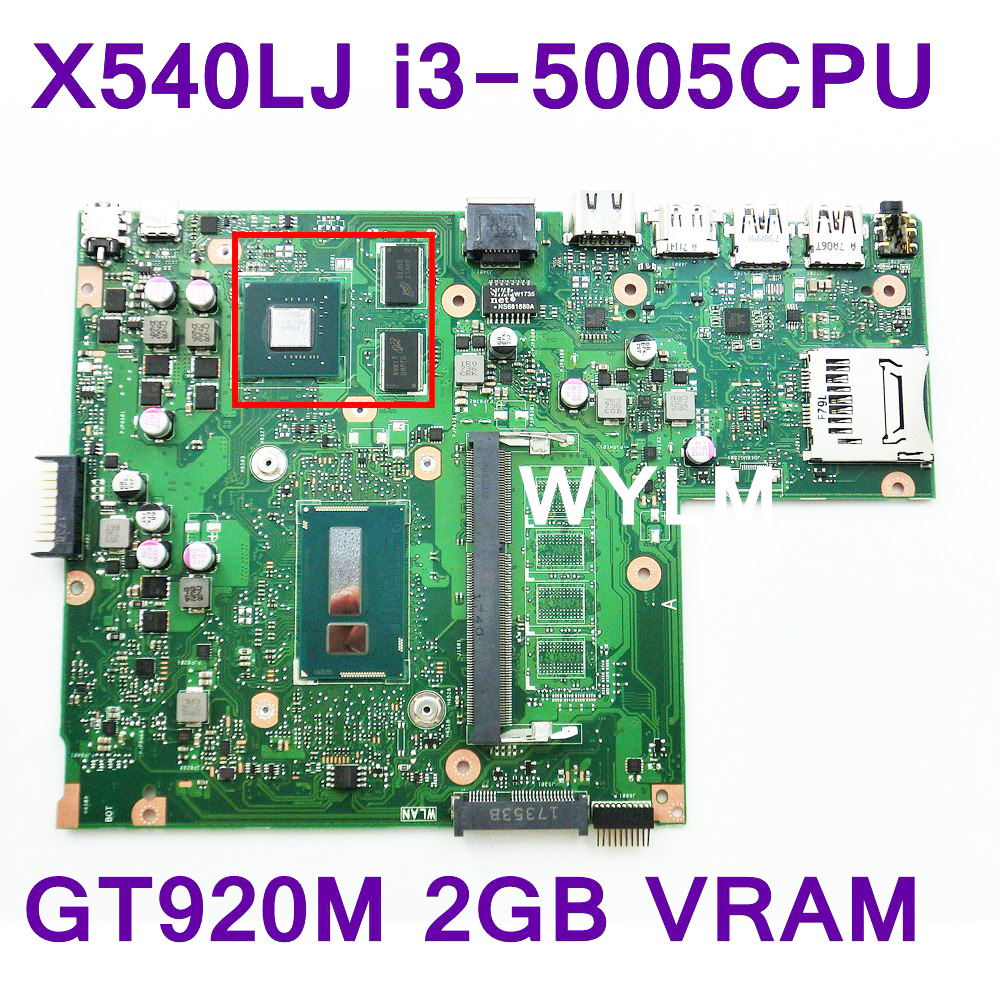 X540LJ With i3-5005 CPU GT920M 2GB VRAM Mainboard REV 2.1 For ASUS X540LJ Laptop Motherboard USB 3.0 100% Tested free shipping free shipping new original x55c x55cr x55vd laptop motherboard main board rev 3 2 sr0dr i3 cpu usb 3 0 2gb ram tested working
