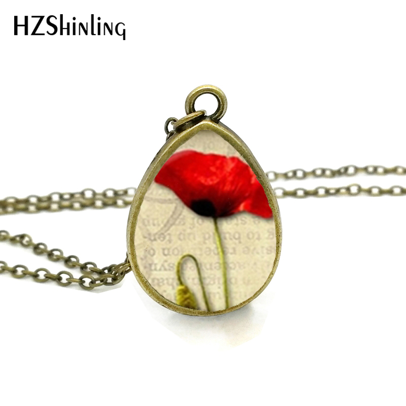 2017 New Red Poppy Necklace Field Of Poppies Jewelry Tear Drop Pendant Floral Art Chain Vintage Photo Necklaces