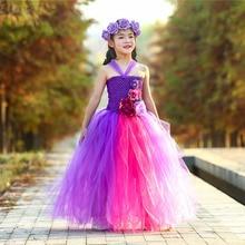 Kids Fancy Dress Girls Princess Flower Tutu Dress Gowns for Children Girls Hot Pink Purple Polyester Tulle Patchwork Dresses недорого