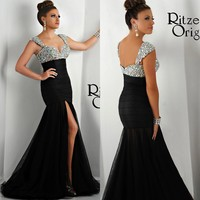 2015 New Designer Evening Dress Black Mermaid Long Formal Gown with High Split Front Crystal Pageant Prom Dress