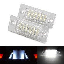 2Pcs Error Free 18 3528 SMD LED License Number Plate Light Lamps Bulbs fit for VW Caddy Transporter Passat Golf Touran Jetta T5
