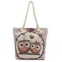Ciephia Female Casual Tote Bags Canvas Women Handbag Large Capacity Shoulder Bag Cartoon Owl Printed Shopping