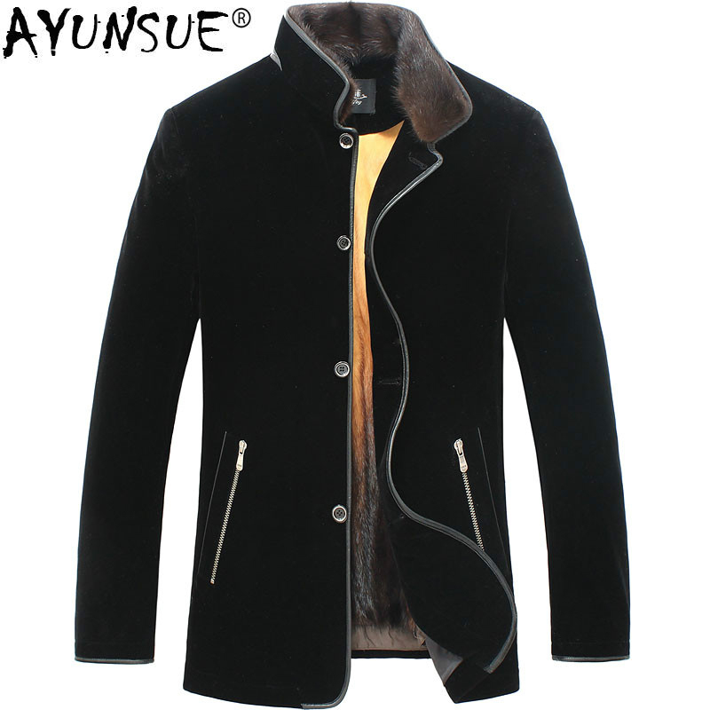 AYUNSUE Gold Mink Liner Winter Real Fur Coat Men Jacket Men Mink Coat Parka Luxury Jacket Velvet Natural Fur LSY068207 KJ1273