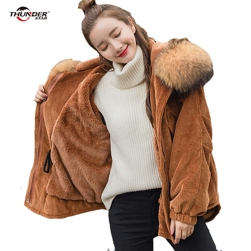 2017 New Corduroy Parkas Female Women Winter Coat Thickening Cotton Winter Jacket Womens Outwear Parkas for Women Winter fashion 2016 lengthen parkas female women winter coat thickening down winter jacket women outwear parkas for women winter w0033
