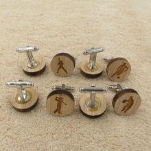 Wooden Cufflinks Sports Design