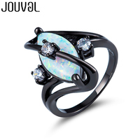 JOUVAL White Opal Rings For Women Charm Vintage Fashion Black Gold Filled Female Ring Gothic Jewelry Party Accessories
