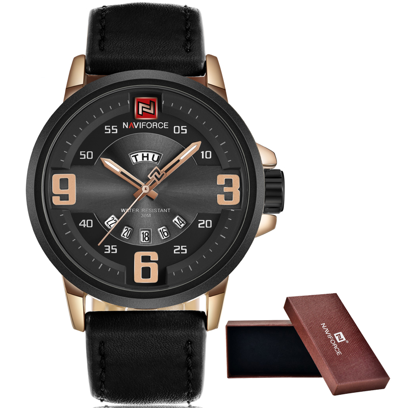NAVIFORCE Brand Fashion Casual Sports Watches Men Analog Quartz Watch Man Leather Waterproof Date Clock Male Relogio Masculino watches men naviforce brand fashion men sports watches men s quartz hour date clock male stainless steel waterproof wrist watch