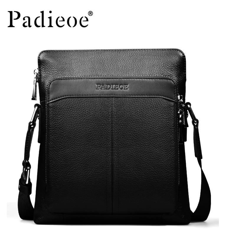 ФОТО Padieoe 2017 Top Quality Men Shoulder Bags Luxury Genuine Leather Casual Crossbody Bags Durable Natural Real Cowhide Handbag
