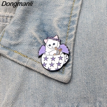 DMLSKY Cute Jewelry Pins Music Cat Angel Brooch Creative Women and Men Clothes Pin Backpack Bag Badges Gift M2593