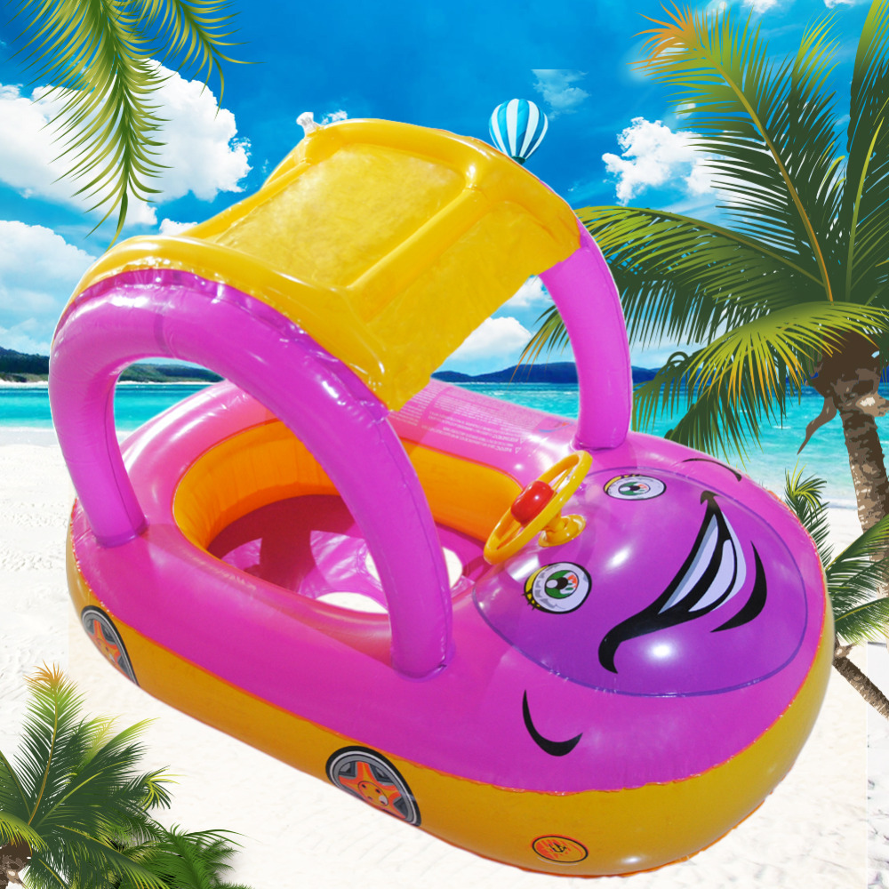 Portable Baby Float Seat Boat Inflatable Float Summer  Sunshade Tube Ring Car Swim Pool For Baby Swimming Water Sport Fun Toys