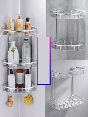 Free Punching Rack Bathroom Vanity Suction Wall Tripod Wall Hanging Bathroom Double Corner Rack Bathroom Shelves Aliexpress