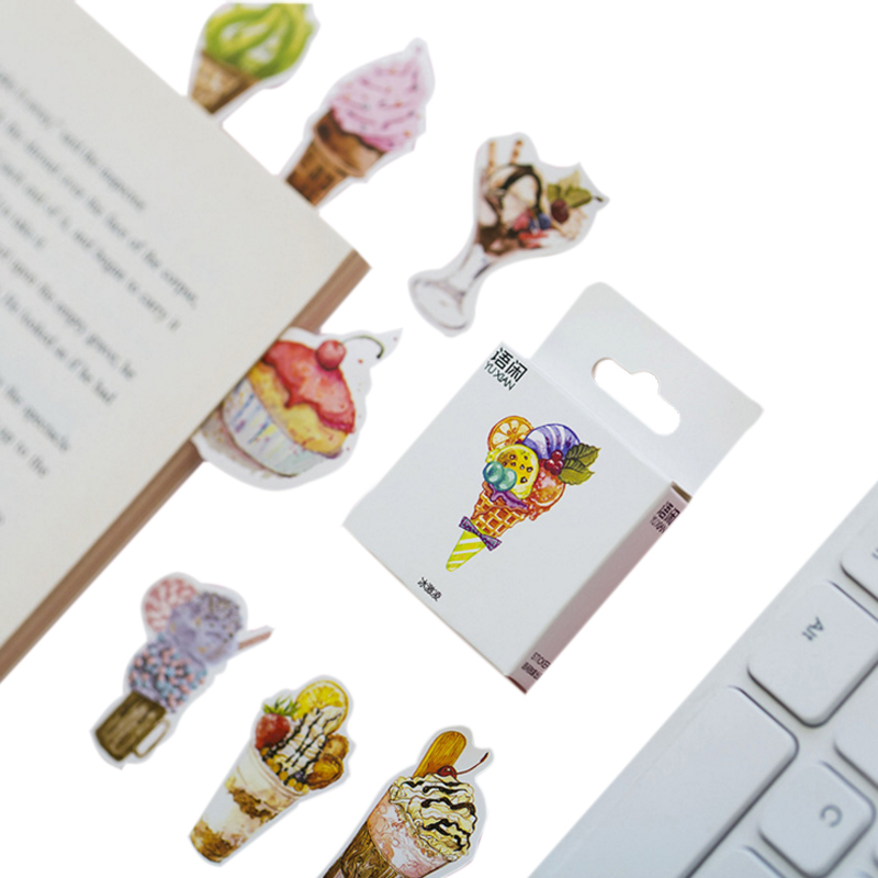 50pcs/box Cute Ice Cream Paper Label Sealing Stickers Diary Adhesive Scrapbooking Decorative DIY Stickers Stationery