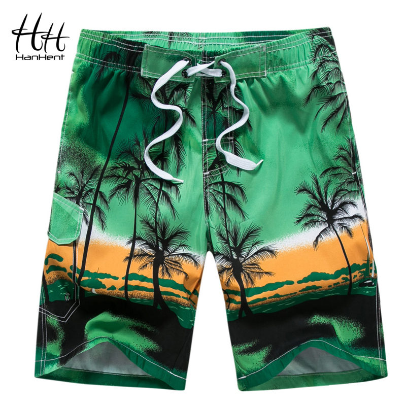 HanHent Printed Quick Dry Beach   Shorts   Men Casual Loose Men's   Board     Shorts   2018 Summer Fitness Pants   Shorts   Plus Size M-6XL