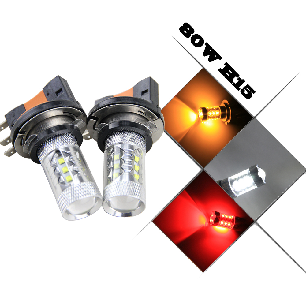 Xenon White 80W CREE Chip 64176 12580 H15 LED Bulbs For Audi for BMW for Mercedes for Volkswagen Daytime Running Lights 2pcs jdm gold yellow 3000k samsung led 2835 smd h15 led bulbs for audi bmw mercedes volkswagen for daytime running lights
