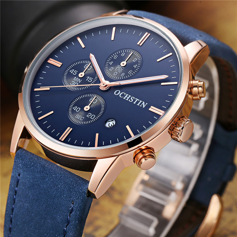 Mens Watches Top Brand Luxury OCHSTIN Quartz Watch Mens Hour Date Clock Leather Strap Fashion Casual Military Army Wrist Watch 20167 new luxury brand women s quartz watch date day clock leather strap watch ladies fashion casual watch women wrist watches
