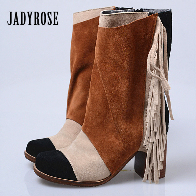 Jady Rose 2018 Fashion Suede Women High Boots Autumn Winter Fringed Short Boots Chunky High Heel Patchwork Tassels Long Botas jady rose brown fringed women chunky high heel boots suede slip on women rivets studded rubber boot platform autumn winter botas