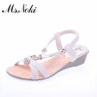 Ms. Noki Yaz Kristal Çiçek Dize Boncuk düz Kadın Ayakkabı ile Moda Yenilik Temel Yumuşak kızlar Sıcak satış Rahat ayakkabı