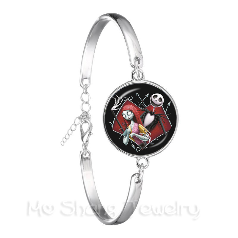The Nightmare Before Christmas Glass Dome Bracelet Women Men Silver Plated Chain Bracelet Jewellery Accessories Xmas Gift