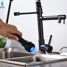 Ulgksd светодиод Кухонная мойка кран на бортике 360 смеситель для кухни одно ручкой горячей и холодной воды смесителя кран для кухня