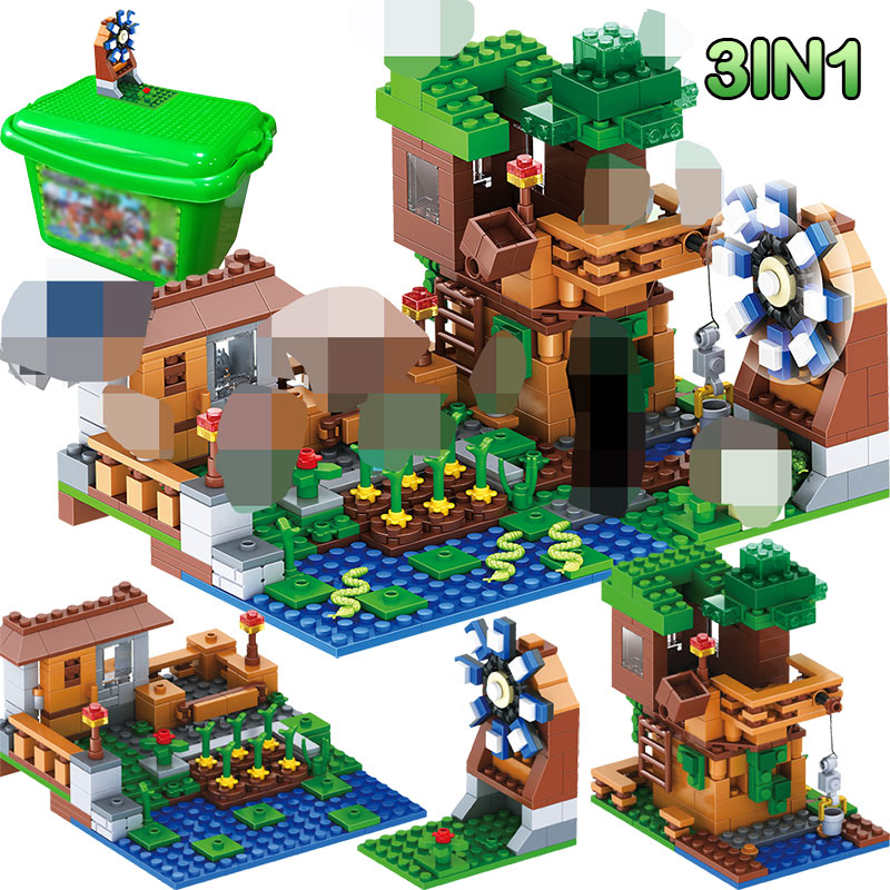 3 IN 1 My World Series Luxury Tree House Compatible LegoINGLY Minecraft Village Farm Building Blocks Windmill Brick Kids Toy3 IN 1 My World Series Luxury Tree House Compatible LegoINGLY Minecraft Village Farm Building Blocks Windmill Brick Kids Toy