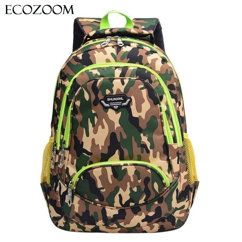 Children Nylon School Bag Student Camouflage Orthopedic SchoolBag Travel Pupils Backpack Teenager Boys Primary Mochila Bookbag