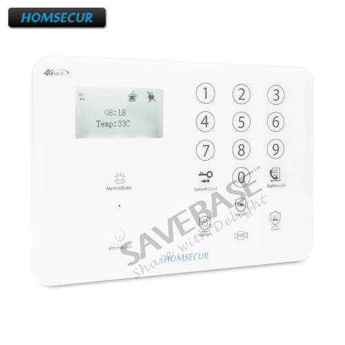 HOMSECUR Wireless&wired 4G/GSM LCD Intruder Alarm Touch Panel + Multi-Languages Menu