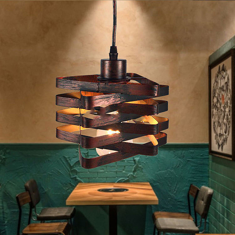 Nordic Creative Industrial Pendant Light Vintage Loft Iron Art Cage Lamp Indoor Restaurant Bar Cafe Bedroom Balcony Stairs Decor colorful glass bowknot led corridor loft bedroom bar ceiling light lamp droplight cafe bar hall store restaurant decor