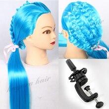 Blue 22'' Yaki Hair Mannequin Head Professional Styling Head For Hairdresser Manikin Dummy Doll Stand Wig Training Head +Holder