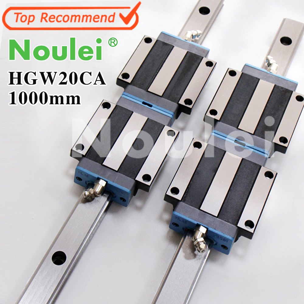 Noulei HGW20CA motion slide blocks with HG20 1000mm linear guide rail 20mm for CNC parts set High quality guia linear linear guide motion reasonable price guideway rail toothed belt drive for laser machine mechanical parts