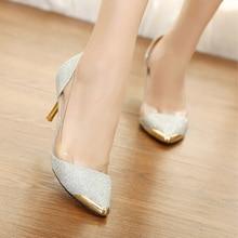 Brand Shoe Woman High Heels Women Pump Stiletto Thin Heel Pointed Toe High Heels Wedding Shoes Glitter Transparent Bling OL Shoe